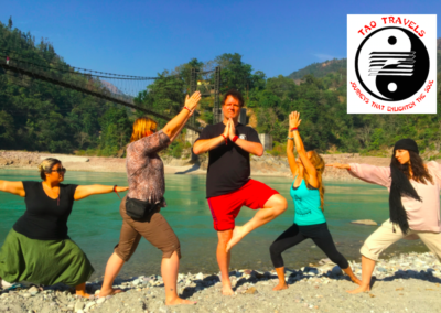 Yoga on the beach in Rishikesh, India