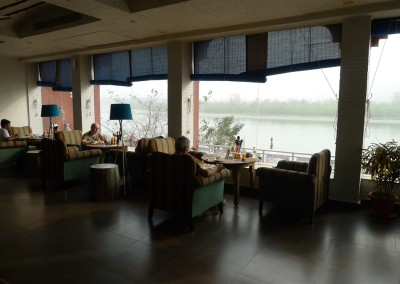 Sitting by the window watching the Ganges River from the comfort of our chiars